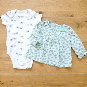Carter's Turquoise Elephant Shirt and Onesie Set